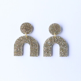 Night Fever Earrings - Gold Sparkle